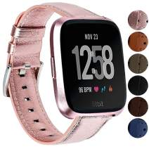 Replacement Bands Compatible for Fitbit Versa/Versa 2 / Versa Lite/Versa Special Edition, VOMA Genuine Leather Band Replacement Accessories Strap Women Men Pink