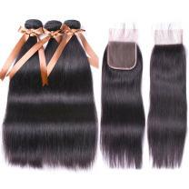 ALLRUN Straight Hair Bundles with Closure (20 22 24+18 Closure) 100% Brazilian Straight Virgin Hair 3 Bundles with Lace Closure Free Part Human Hair Extensions Natural Black Color