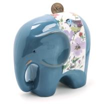 FORLONG FL2020 Ceramic Piggy Bank for Boys and Girls,Big Elephant Money Coin Bank Baby Nursery Decor,Gift for Kids-Blue