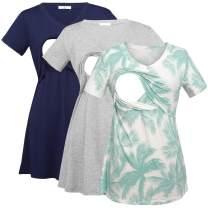 Bearsland Womens 3 Packs V Neck Nursing Tops Maternity Breastfeeding Tee Shirts