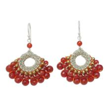 NOVICA Hand Crocheted Carnelian and Quartz Earrings with .925 Sterling Silver Hooks, Orange Lanna'