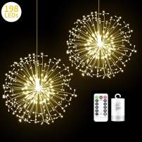 2 Pack 198 LED Fireworks Lights, Hanging Starburst Lights, Battery Operated Fairy String Lights with Remote Control for Christmas, Wedding, Party, Indoor, Outdoor (198 LED, Warm White)