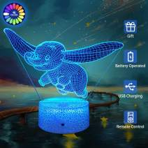 Elephant 3D Illusion Lamp Elephant Party Supplies 16 Color Changing Night Light with Touch and Remote Control Dimmable Elephant Toys Light Birthday for Kids Girls Boys Baby
