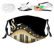 Music Note Piano,Reusable Face Mask Balaclava Washable Outdoor Nose Mouth Cover for Men and Women