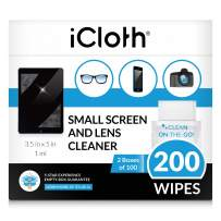 iCloth Lens and Screen Cleaner Pro-Grade Individually Wrapped Wet Wipes, Wipes for Cleaning Small Electronic Devices Like Smartphones and Tablets, 200 Wipes