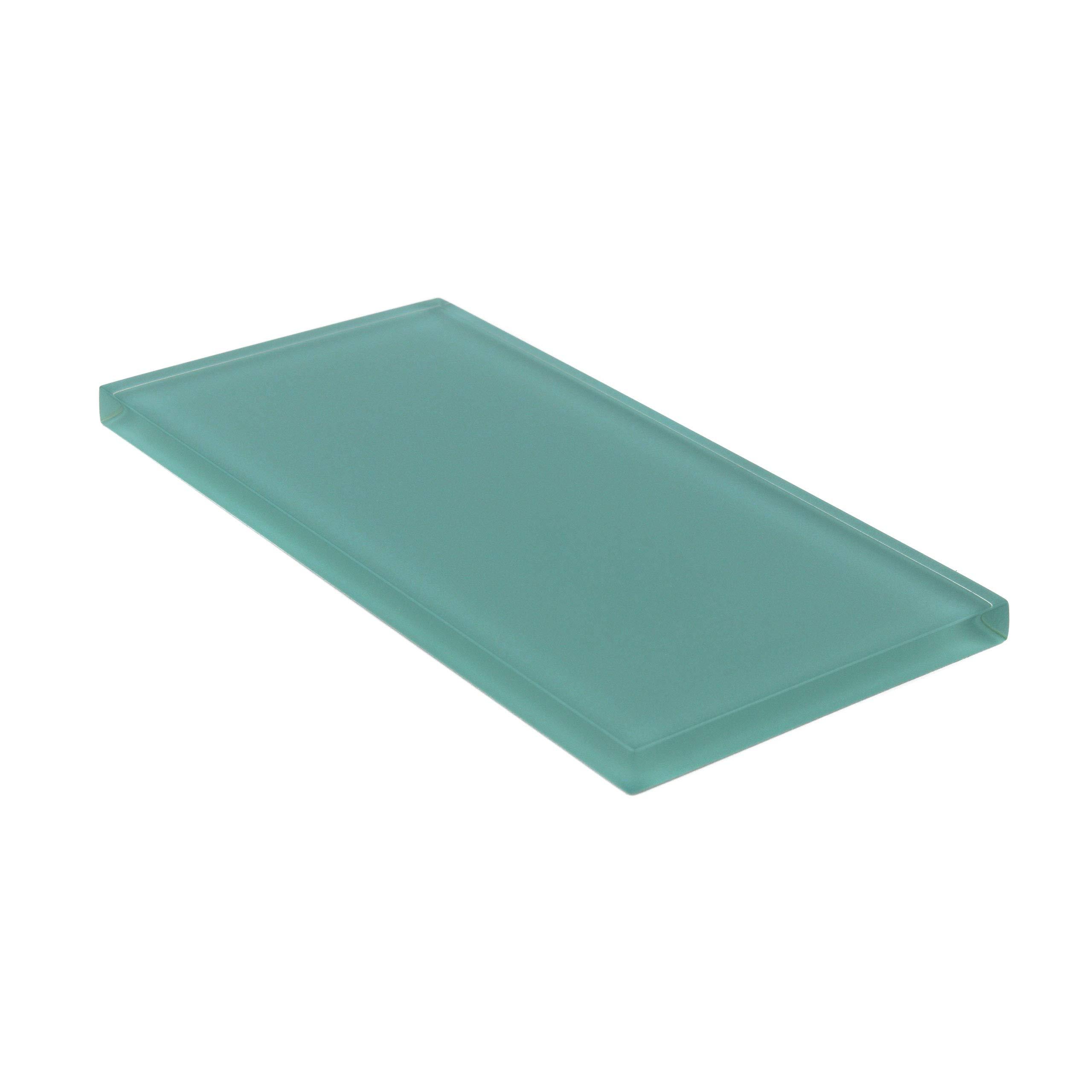 Giorbello Glass Subway Backsplash Tile, 3 x 6, Teal, Sample Tile (1 Piece)