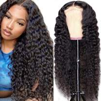 Cute Fairy Water Wave Lace Closure Human Hair Wig Wet and Wavy Lace Front Wig Brazilian Human Hair Curly Wig for Black Women 18 inch 150% Density Middle Part