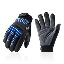 Vgo Deer Split Leather Work Gloves, Mechanic Gloves, Cut Resistance ANSI A3, Touchscreen Compatible (Size L, Blue, DB9702HY)