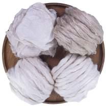 7oz Eri Silk - Muga Silk Fiber Sampler for Spinning, Blending, Dyeing, Soap Making, Paper Making, Needle Felting, and DIY Cosmetics. Natural Color.