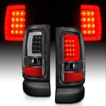 AmeriLite for 1994-2001 Dodge Ram 1500 2500 3500 Truck Black C-Bar LED Tube Replacement Tail Lights Signal Lamp Pair - Passenger and Driver Side