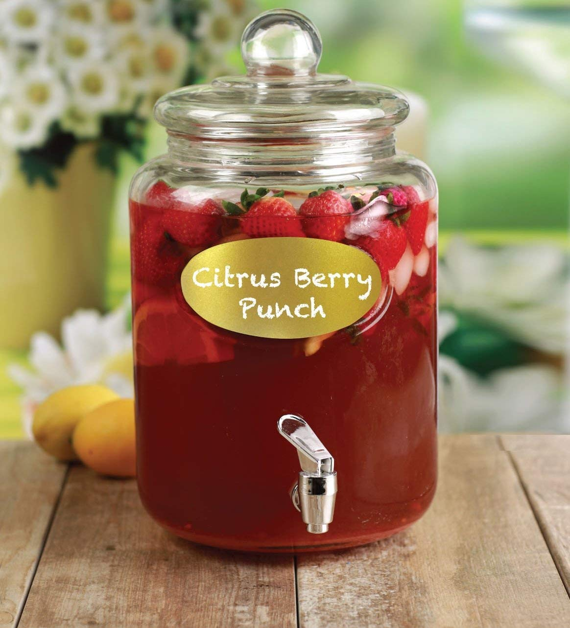 Circleware 67135 Wellington Gold Chalkboard Mason Jar Glass Beverage Dispenser with Lid Glassware for Water, Iced Tea Kombucha, Punch and All Cold Drinks, 1.5 Gallon (1 Unit)