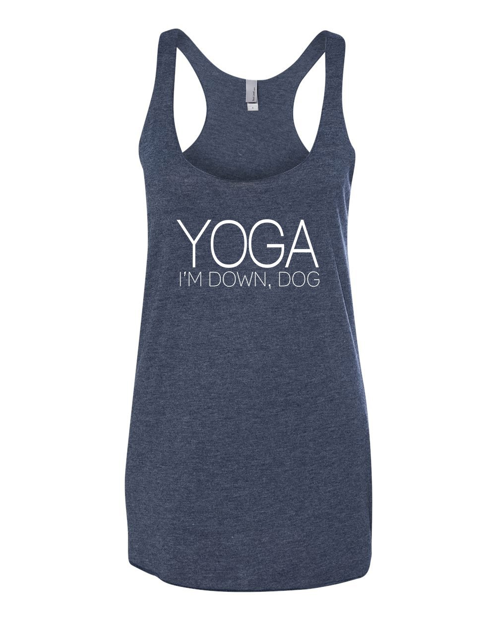 Panoware Women's Funny Workout Tank Top   Yoga I'm Down Dog, Navy Blue, X-Large