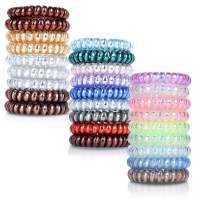 27 Pcs Spiral Hair Ties, Plastic Hair Ties Spiral No Crease and Colorful Phone Cord Hair Tie, Traceless Spiral Hair Ties for Women and Girls