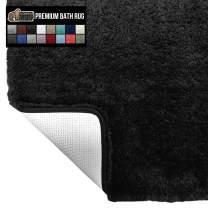 Gorilla Grip Original Premium Luxury Bath Rug, 60x24 Inch, Incredibly Soft, Thick, Absorbent Bathroom Mat Rugs, Machine Wash and Dry, Plush Carpet Mats for Bath Room, Shower, Hot Tub, Spa, Black