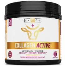 Collagen Active - Pure Hydrolyzed Collagen Peptides BCAA Powder with Vitamin C (13.3oz) - Supplement for Radiant Skin, Joint Flexibility, and Muscle Recovery