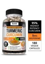 Kaya Naturals Turmeric Platinum, 180 Count Capsules, Bioperine, Premium Pain Relief & Joint Support with 95% Standardized Curcuminoids (180 Capsules)