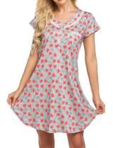 Ekouaer Women's Nightgown Short Sleeve Sleepwear Floral Print Sleep Shirt Dress V Neck Lace Nightshirt S-XXL
