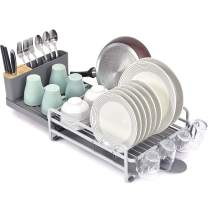 Toolf Dish Rack and Drainboard Set, Extend Large Dish Drying Rack with Swivel Spout for Kitchen Counter or Sink, Expandable Dish Drainer Rack with Utensil Holder and Cup Holder