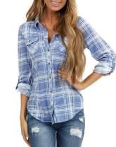 Jug&Po Womens Casual Cuffed Roll Up Long Sleeve Plaid Button Down Flannel Shirt (Small, Cornflower)