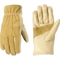 Women's Leather Work and Garden Gloves, Heavy Duty Grain Cowhide, Large (Wells Lamont 1124L)