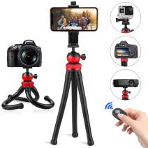 """Flexible Tripod for iPhone, PEYOU 12"""" Mini Tripod + Bluetooth Remote + 2PCS Mount Adapter for GoPro Action Camera DSLR + 360° Rotating Phone Holder Compatible for iPhone Xs Max XR X 8 7 Android Phone"""