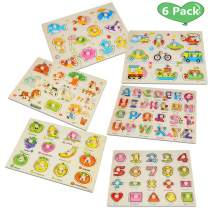FunsLane 6 Pack Wooden Peg Puzzles for Toddlers 1 2 3 Years Old - Alphabet, Numbers, Animals, Vehicles, Ocean, Fruits- Great Gift for Girls and Boys Christmas, Preschool Educational Development Toy