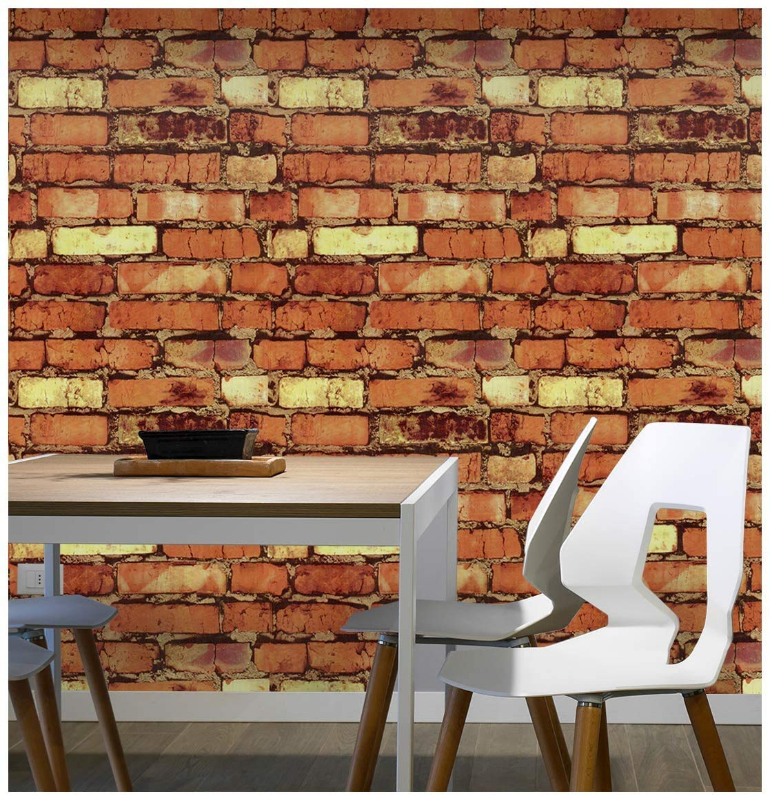 Eurotex Brick Peel and Stick Wallpaper - Self Adhesive- Removable Stone Design Wallcovering- Use as Wall Paper, Contact or Shelf Paper (PVC, Size 1.48ft x 16.4ft, 24 sq ft Roll, Red Brown Color)