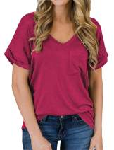 Womens Tops Plus Size Short Sleeve V Neck Shirts Loose Casual Cotton Tee T-Shirt