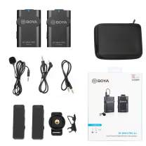 BOYA by-WM4 PRO TX+RX Compact 2.4 GHz Wireless Lavalier Microphone for DSLR Camera Smartphones Tablet PCs Recording Vlogging