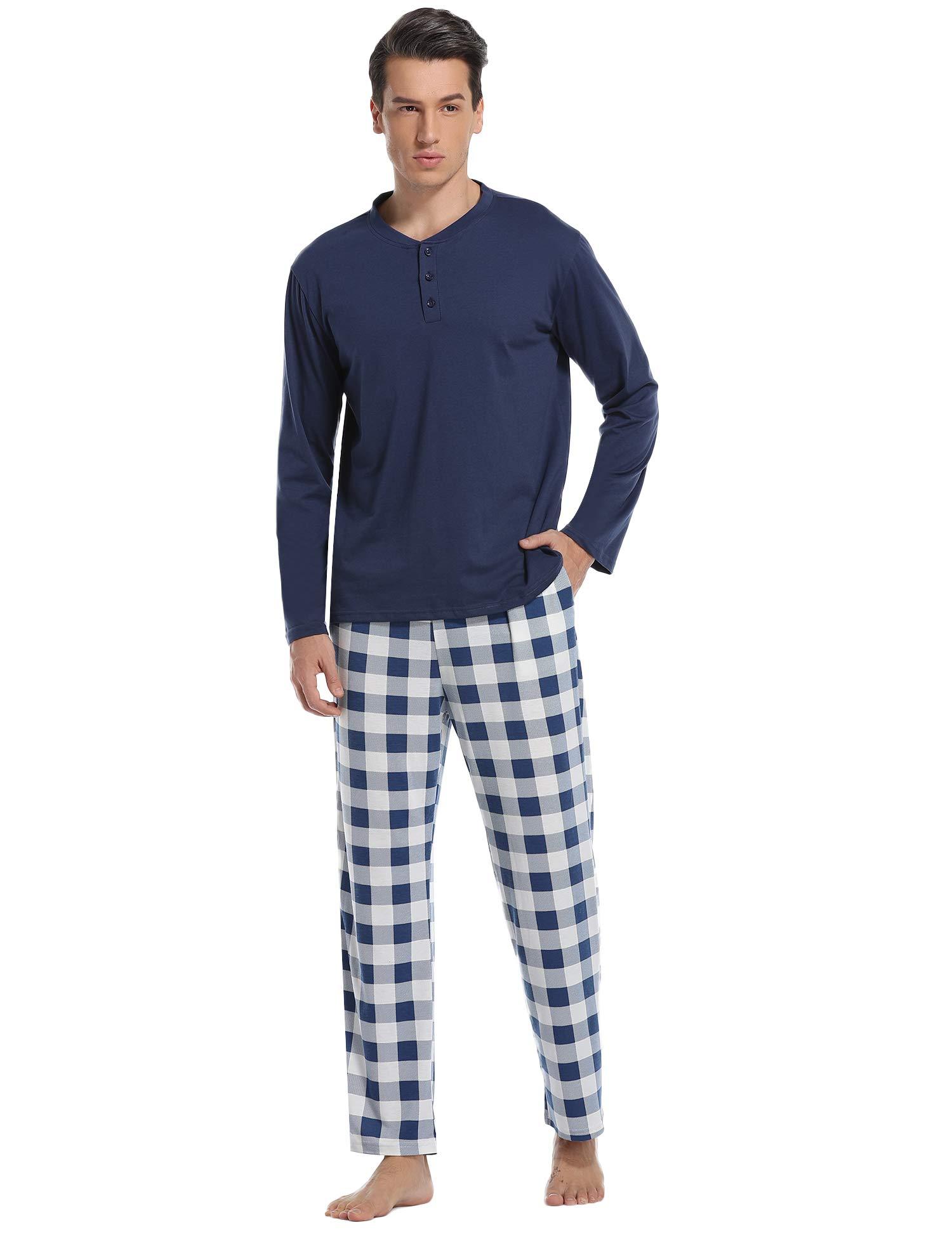 Vlazom Men's Pajama Sets Long Sleeve Top and Plaid Fleece Pants for Men Sleepwear PJs