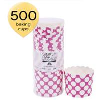 Simply Baked Large Paper Baking Cup, 500-Pack, Fuchsia with White Dot
