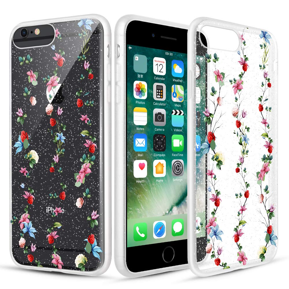 Caka Clear Case for iPhone 6S Plus Floral Glitter Clear Case Flower Pattern Rose Vine Slim Girly Anti Scratch TPU Crystal Glitter Case for iPhone 6 Plus 6S Plus 7 Plus 8 Plus (5.5 inch) (Red Purple)