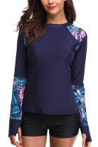 Vegatos Women's Long Sleeve Rash Guard UPF 50+ Swim Shirt Printed Rashguard Top