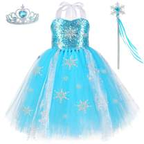 HJTT Snow Queen Elsa Costume for Girls Birthday Party Princess Tutu Dresses Kids Christmas Halloween Fancy Dress Up