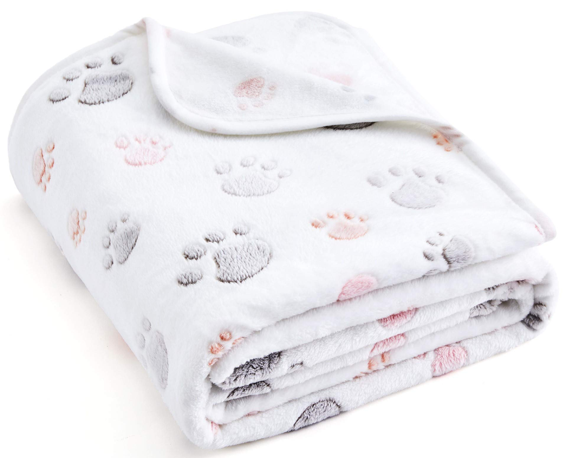 ALLISANDRO 350 GSM-Super Soft and Premium Fuzzy Fleece Pet Dog Blanket, The Cute Print Design Washable Fluffy Blanket for Puppy Cat Kitten Indoor or Outdoor, White and Grey