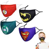 YUESUO Kids 3D Design & Cute Print Face Masks with Adjustable Elastic Ear Loops, Reusable & Breathable & Washable, Gift for Boys Girls