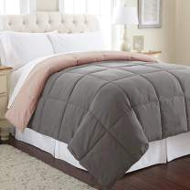 Amrapur Overseas Goose Down Alternative Microfiber Quilted Reversible Comforter/Duvet Insert Ultra Soft Hypoallergenic Bedding - Medium Warmth for All Seasons, Twin, Charcoal/Misty Rose
