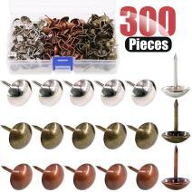 Hilitchi 300-Pcs [3-Color] 9/16''(14mm) Antique Upholstery Nails Tacks Furniture Tacks Upholstery Tacks Thumb Tack Push Pins Assortment Kit