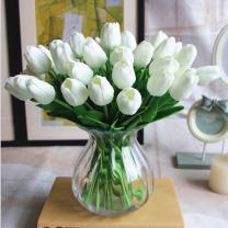 SHINE-CO LIGHTING PU Real Touch Artificial Tulips Fake Flowers 10 Pcs Flowers Arrangement Bouquet for Home Office Wedding Decoration (White)