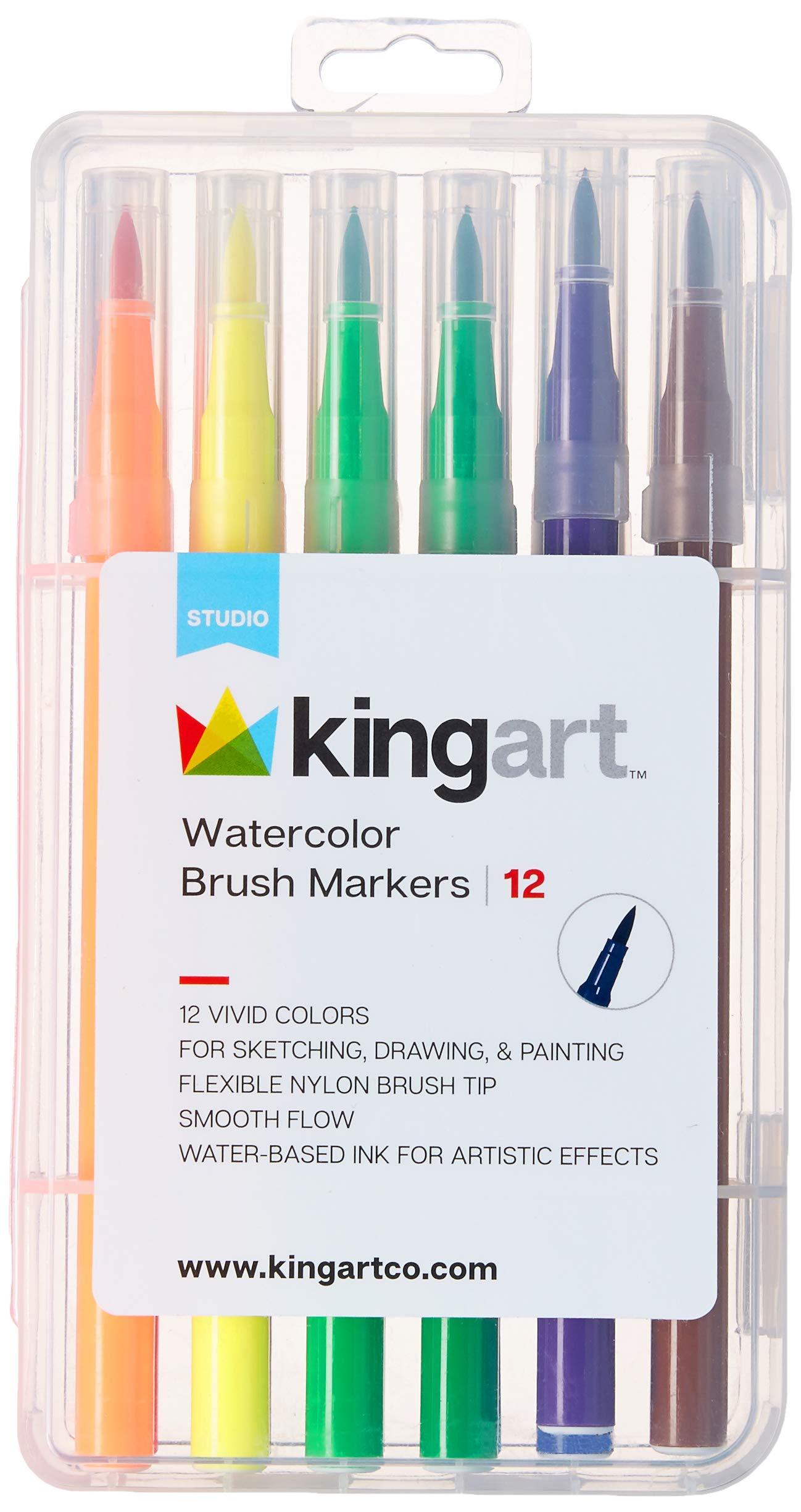 KingArt 410-12 Studio Tip Watercolor Brush Markers, Set of 12, Unique Colors