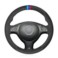 MEWANT DIY Customized Hand Sewing Black Suede Car Steering Wheel Cover for BMW 3 Series E46 E46/5 2004-2005/5 Series E39 2002-2003 / M3 2001-2006 / M5 2000-2003