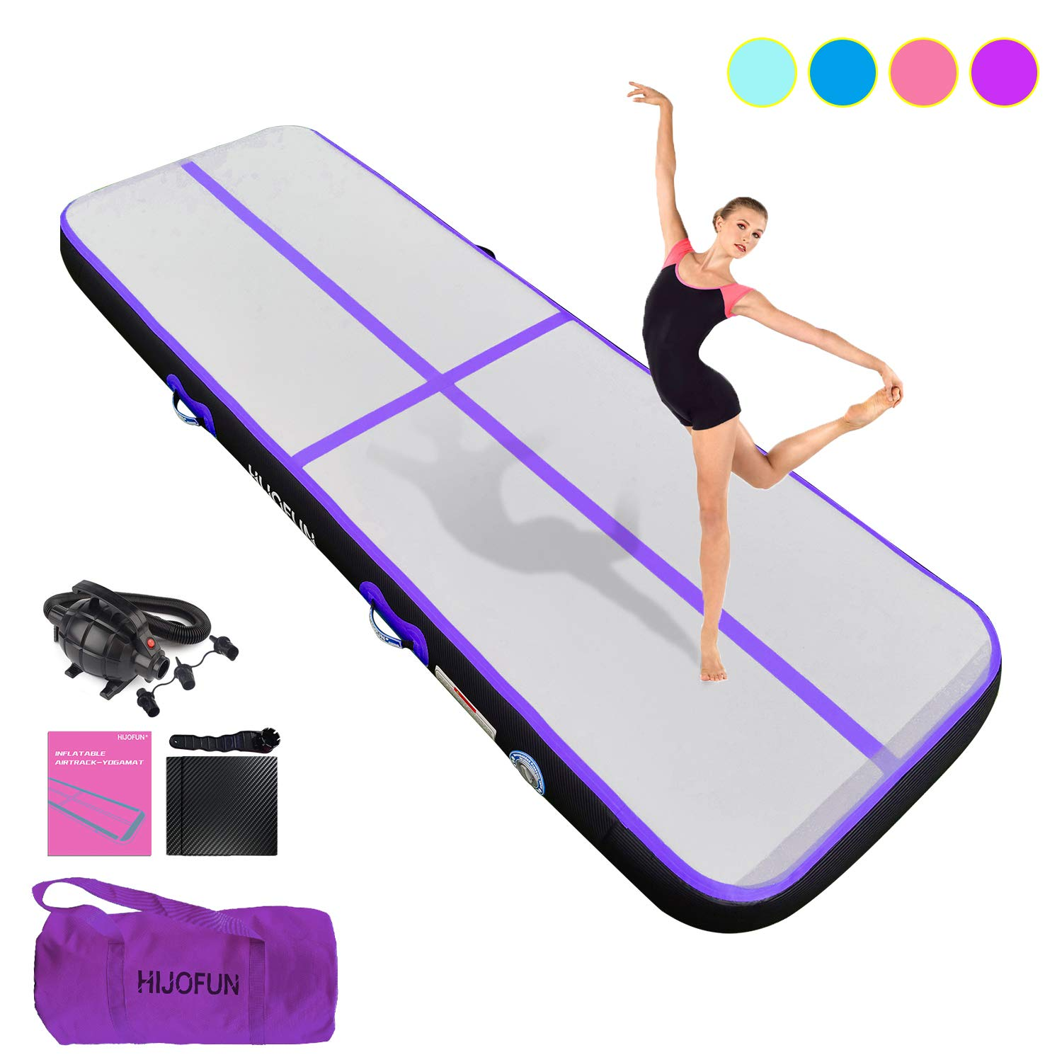 HIJOFUN Premium Air Track 10ft 13ft 16ft 20ft Airtrack Gymnastics Tumbling Mat Inflatable Tumble Track with Electric Air Pump for Home Use/Gym/Yoga/Training/Cheerleading/Outdoor/Beach/Park