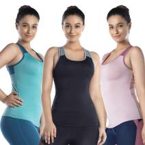 LIN Women's Cute Workout Tank Top -Athletic Shirts for Gym Running Exercise Open Back with Mesh