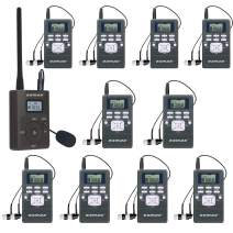 EXMAX EXG-108 DSP Stereo Wireless Headsets FM Radio Broadcast System for Tour Guide Teaching Meeting Training Travel Field Interpretation 1 Transmitter & 10 Receivers (Gray)