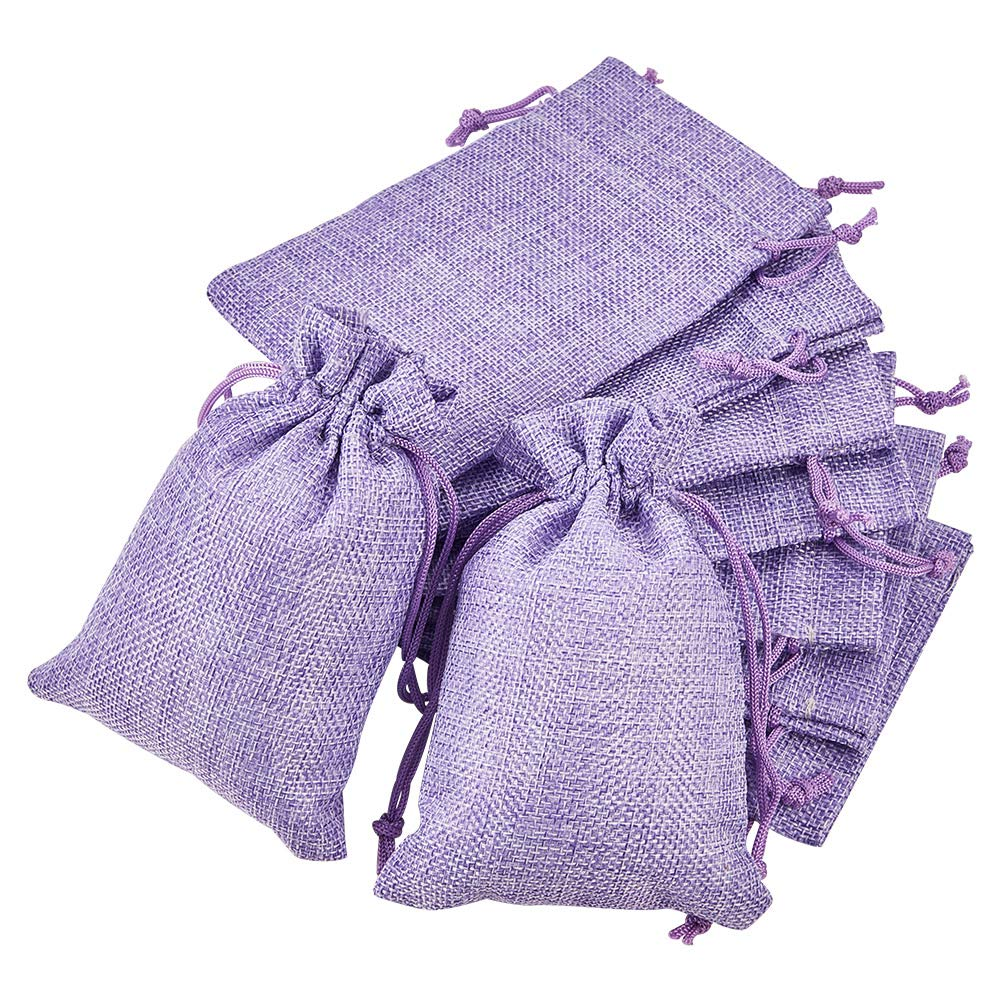 BENECREAT 30PCS Burlap Bags with Drawstring Gift Bags Jewelry Pouch for Wedding Party Treat and DIY Craft - 5.5 x 3.9 Inch, Purple
