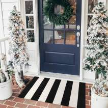Seavish Indoor Outdoor Doormats, 2'x3' Black and White Ivory Stripes Rug Handmade Woven Floor Rug, Machine Washable Small Carpet Welcome Mat Cotton Area Rug for Porch/Kitchen/Entry Way/Laundry