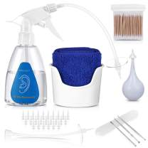 ETEREAUTY Ear Wax Removal Tool, Ear Cleaning Irrigation Kit, Includes 25 Disposable Tips, Basin, Syringe, Long Hose, Curette Set, Towel and Cotton Swab