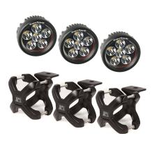 Rugged Ridge 15210.06 Black Round X-Clamp & LED Light Kit - 3 Pieces