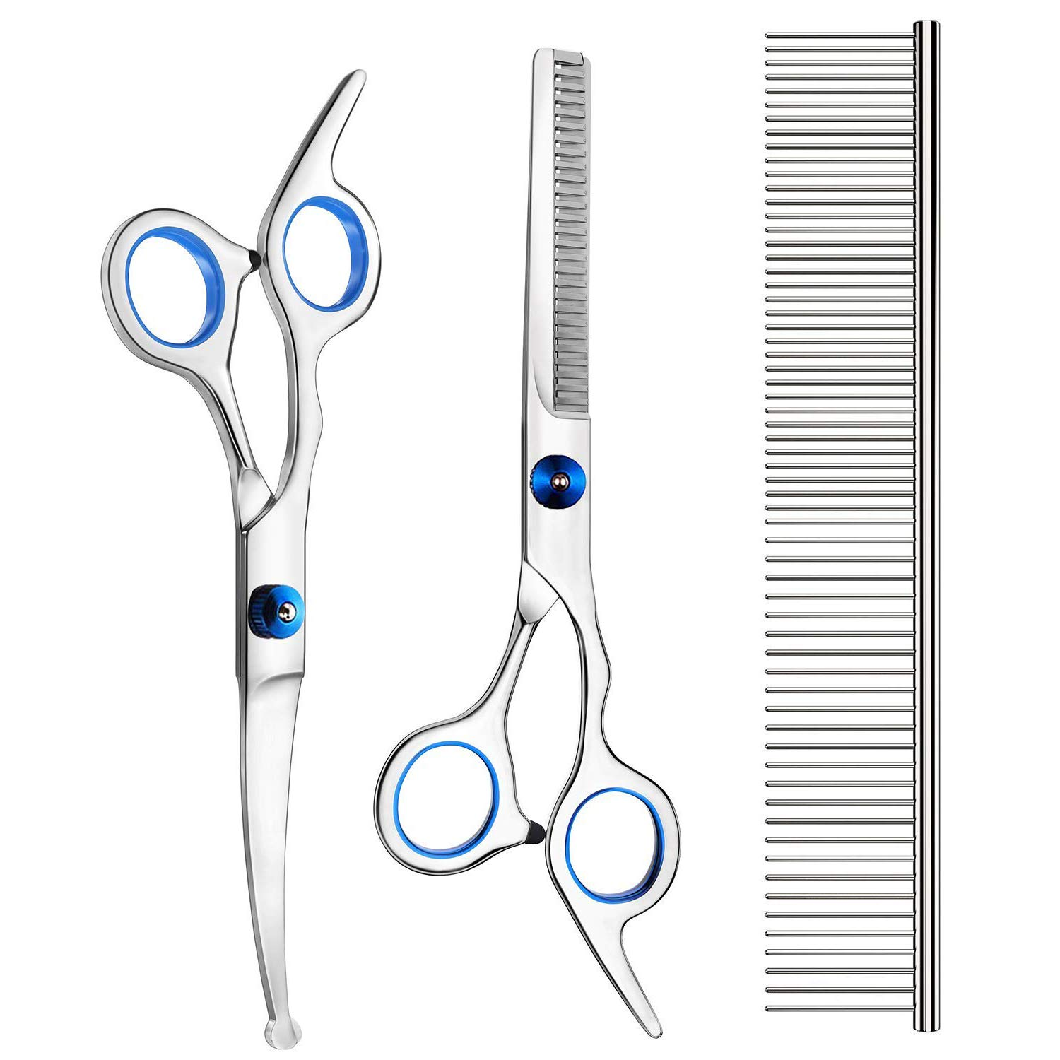 Petsvv 3 Pack Dog Grooming Scissors with Safety Round Tip, Perfect Stainless Steel Up-Curved Grooming Scissors Thinning Cutting Shears with Pet Grooming Comb for Dogs and Cats