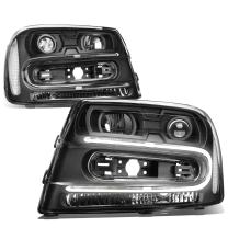 DNA Motoring HL-HPL-CTR02-BK-CL1 Black Projector Headlights With LED Running Light Replacement For 02-09 Trailblazer